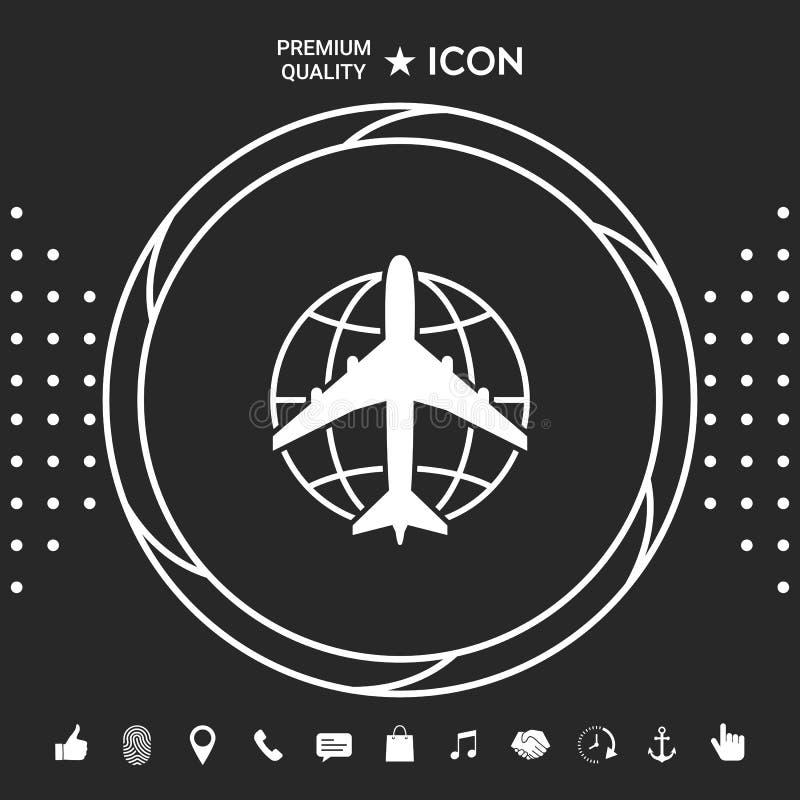 Ziemski i Samolotowy logo ilustracja wektor