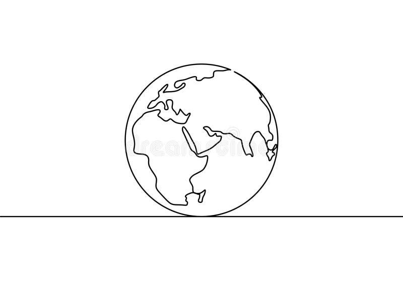 Ziemski jeden kuli ziemskiej kreskowy rysunek światowej mapy wektorowy ilustracyjny minimalistyczny projekt odizolowywający na bi ilustracja wektor