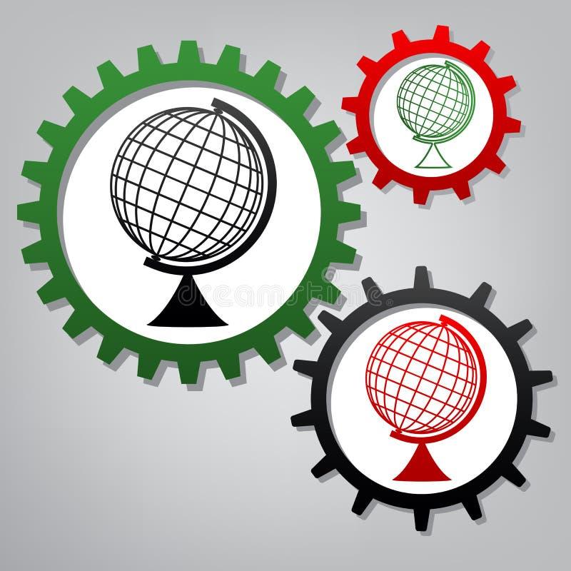 Ziemski kula ziemska znak wektor Trzy łączącej przekładni z ikonami przy gr ilustracja wektor