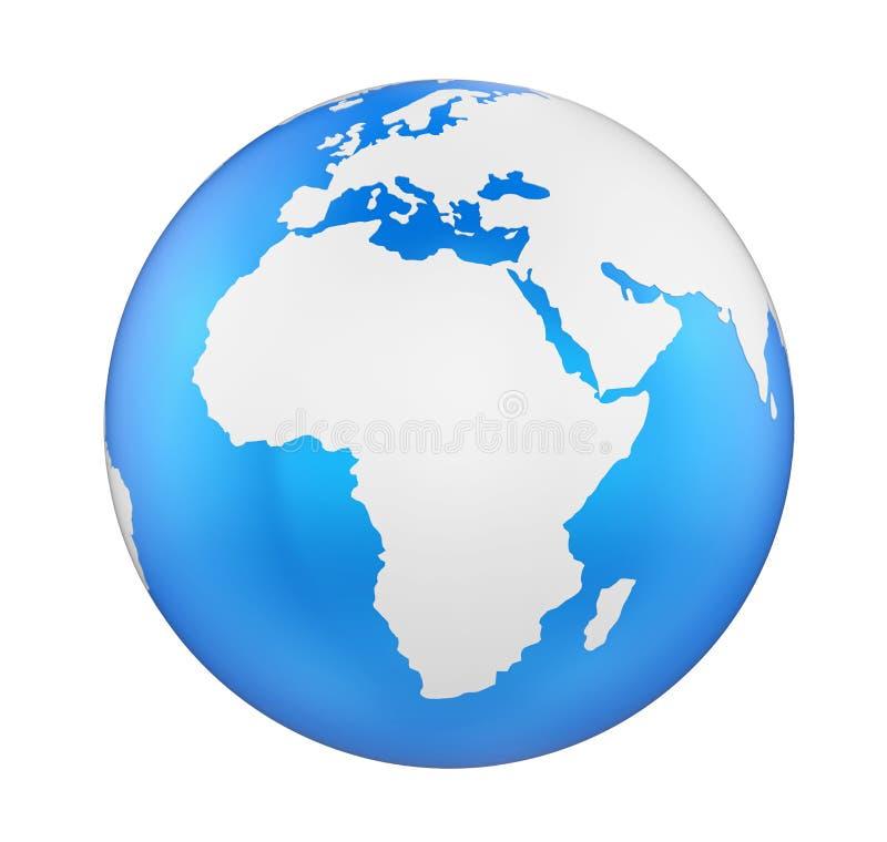 Ziemski kuli ziemskiej Afryka widok Odizolowywający royalty ilustracja