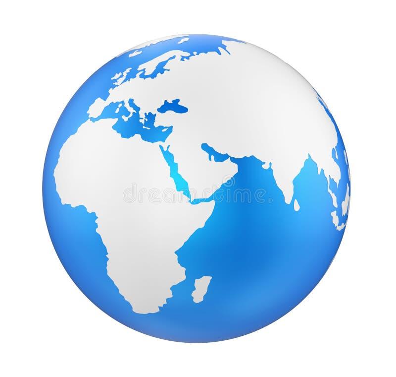 Ziemski kuli ziemskiej Europa widok Odizolowywający ilustracji