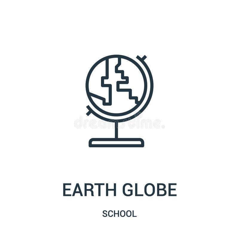 ziemski kuli ziemskiej ikony wektor od szkolnej kolekcji Cienka linii ziemi kuli ziemskiej konturu ikony wektoru ilustracja Linio royalty ilustracja