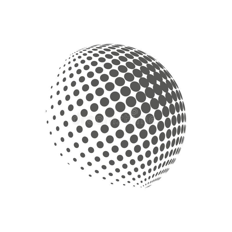 Ziemski logo - halftone sfera Graficzni elementy dla twój projekta ilustracja wektor