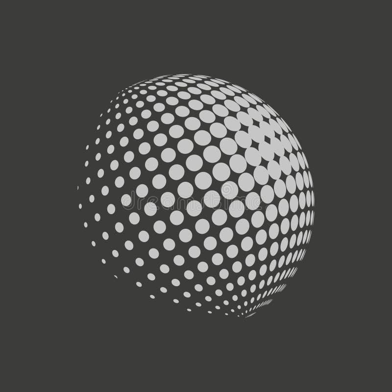 Ziemski logo - halftone sfera Graficzni elementy dla twój projekta royalty ilustracja
