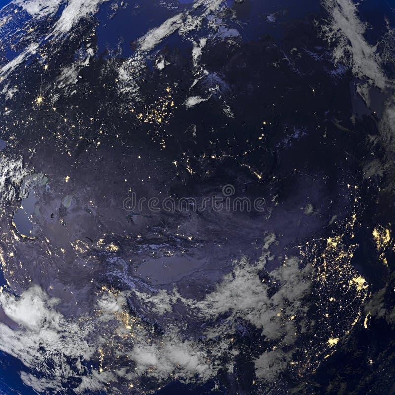 Ziemski noc widok od astronautycznego 3d renderingu royalty ilustracja