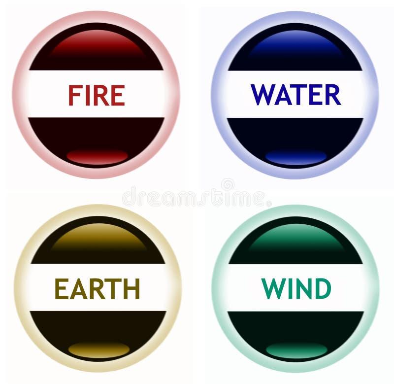 ziemski ogienia wody wiatr ilustracja wektor