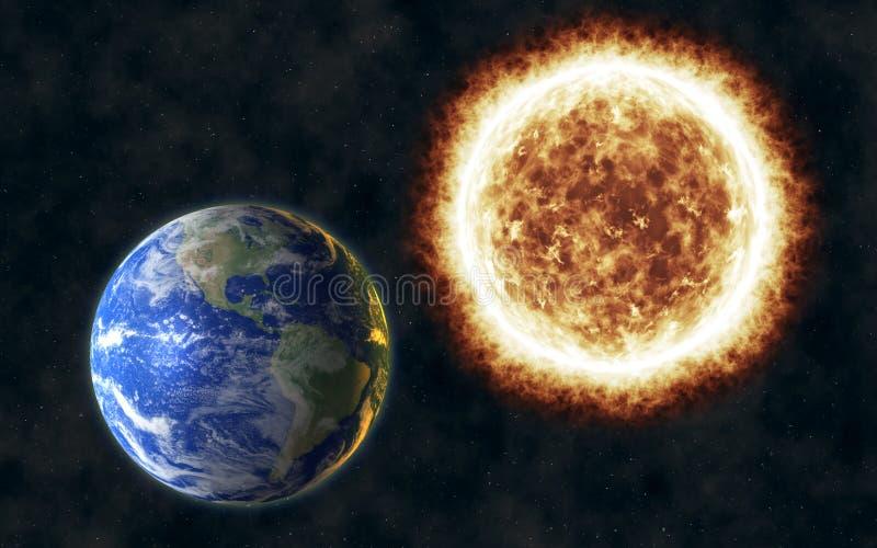 Ziemski ogrzewanie od krańcowego ognistego słońca royalty ilustracja