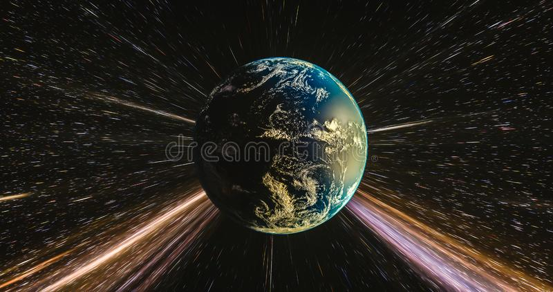 Ziemski podróżować chociaż przestrzeń z lekkimi śladami galaxy zdjęcie stock