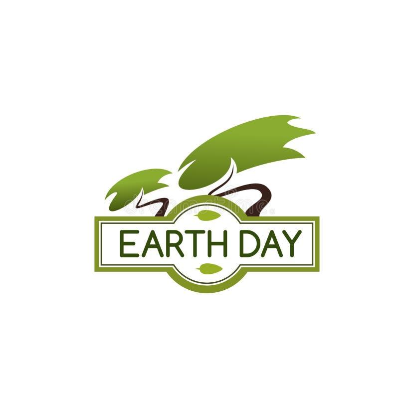 Ziemskiego dnia drzewna wektorowa ikona dla natury ochrony ilustracja wektor