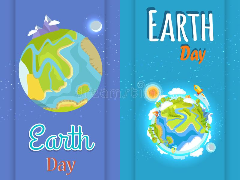 Ziemskiego dnia Jaskrawi plakaty z planety ilustracją royalty ilustracja