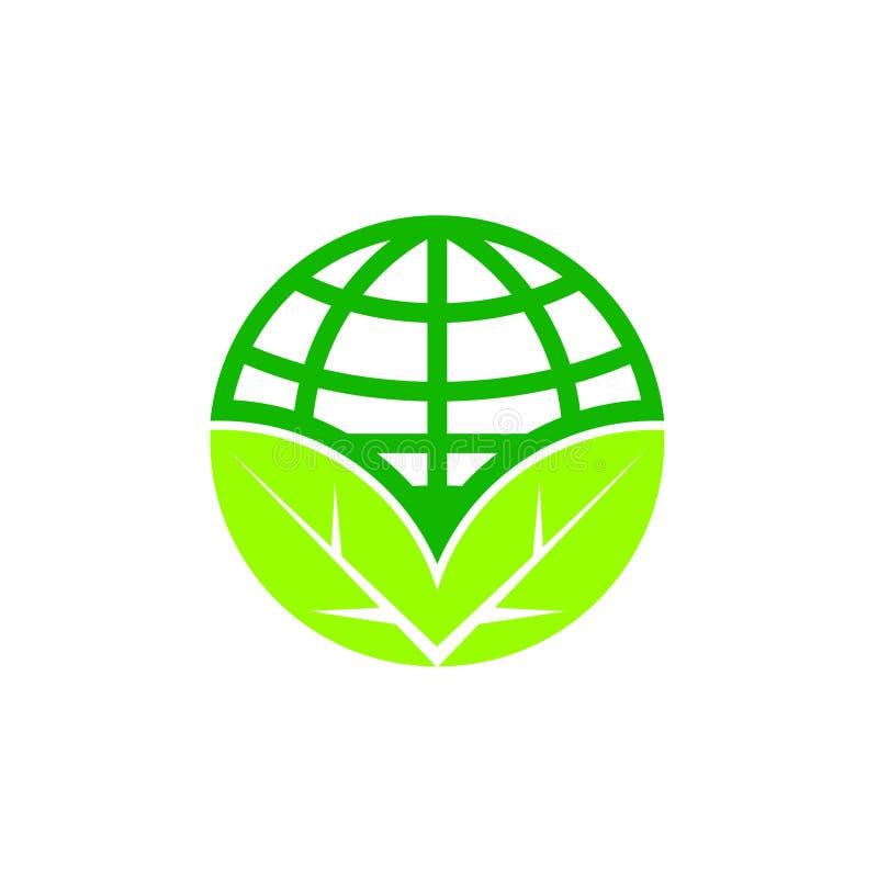 Ziemskiego dnia kuli ziemskiej ikona z liściem ilustracja wektor