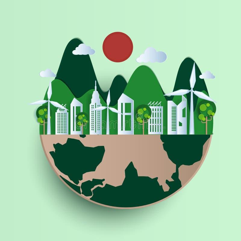 Ziemskiego dnia papieru ci?cia styl Eco ?yczliwa, zielona miasto natura, i energii odnawialnej poj?cie royalty ilustracja