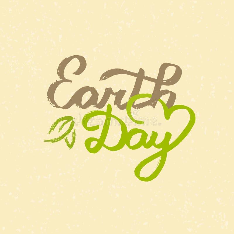 Ziemskiego dnia ręcznie pisany literowanie z liśćmi, narysami i grunge skutkiem, Pociągany ręcznie Ziemskiego dnia rocznika typog ilustracja wektor
