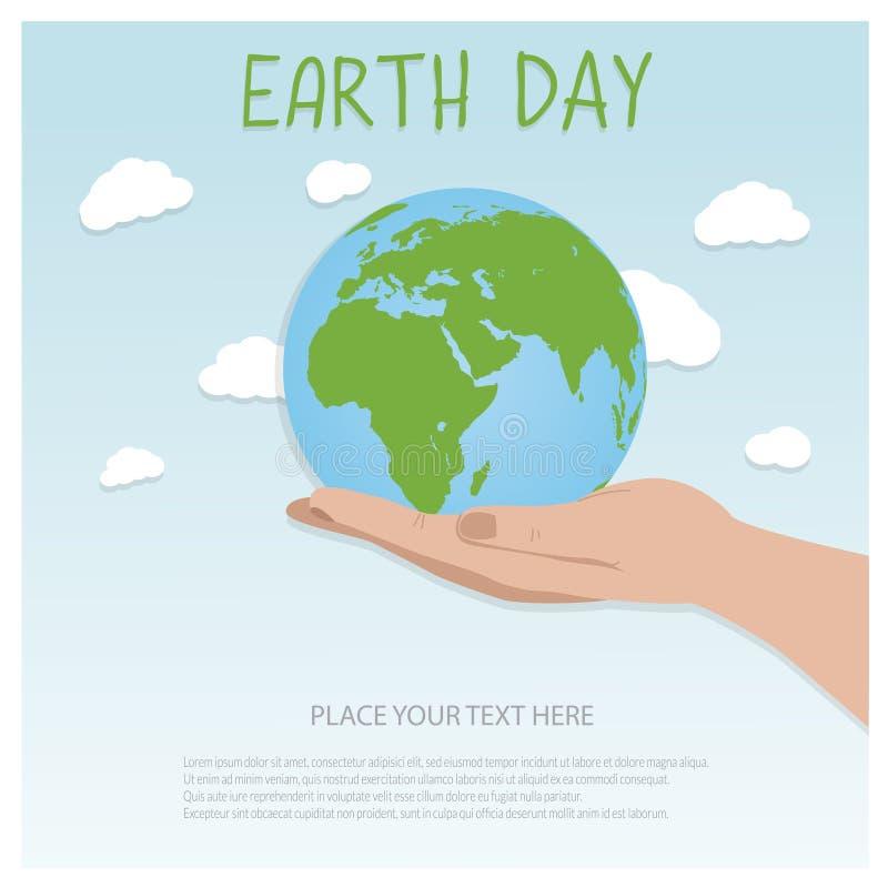 Ziemskiego dnia tła pojęcie Płaski ilustracyjny projekt ręki trzyma kulę ziemską z budynkami i drzewami royalty ilustracja