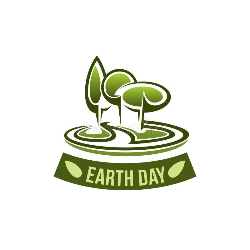 Ziemskiego dnia wektorowa ikona dla zielonego natury środowiska royalty ilustracja