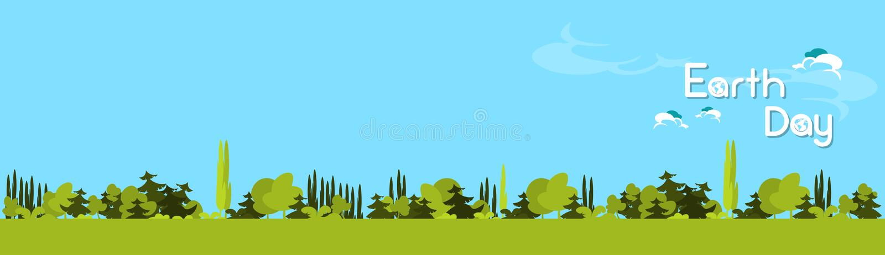 Ziemskiego dnia zieleni Lasowego drzewa natury krajobraz ilustracji