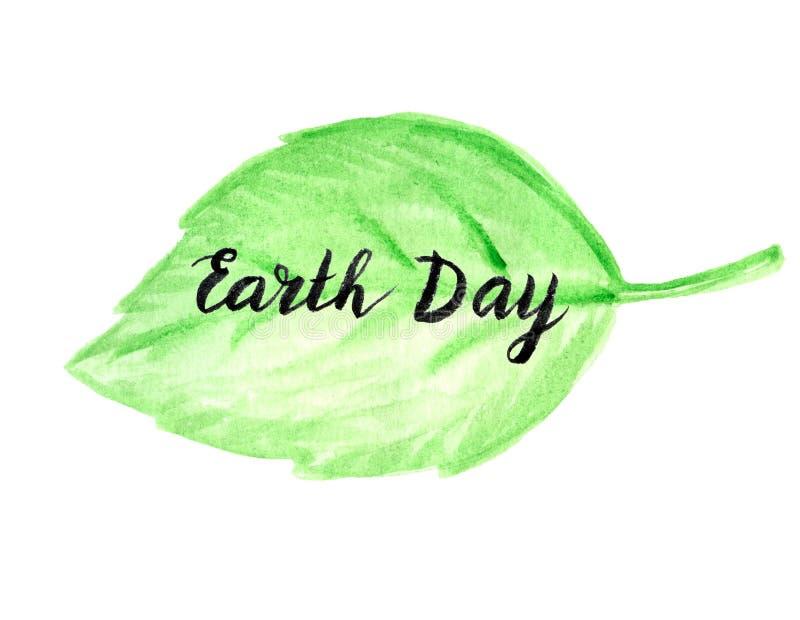 Ziemskiego dnia zieleni liścia tło ilustracji