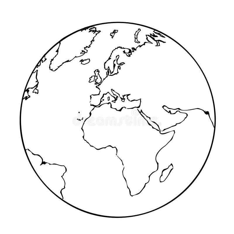 Ziemskiej kuli ziemskiej ikony piktograma prosty kontur ilustracji