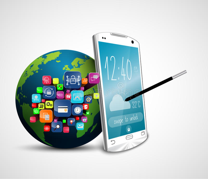 Ziemskiej kuli ziemskiej podaniowe ikony z piórem na parawanowym telefonie komórkowym odizolowywali białego tło royalty ilustracja