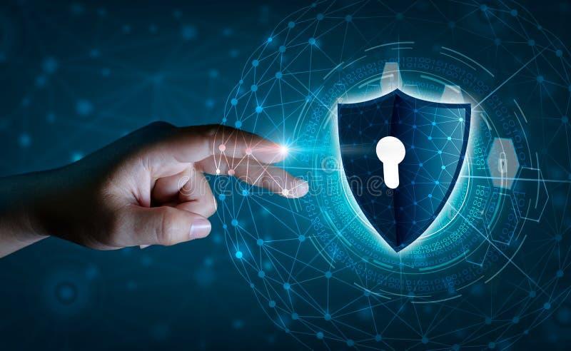 Ziemskiej wielobok siatki planety Światowi biznesmeni trząść ręki ochraniać informację w cyberprzestrzeni Biznesmena mienia osłon ilustracji