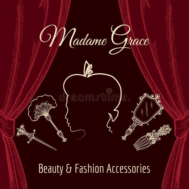 Zien de hand getrokken retro affiche van de schoonheidswinkel met rood gordijn en het silhouet van mooie vrouw onder ogen royalty-vrije illustratie