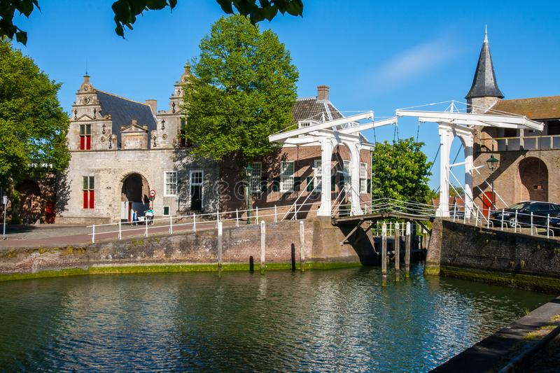 Zierikzee Harbour 2. The entrance to the harbour in Zierikzee, Netherlands. Now a harbour for pleasure boats royalty free stock photos