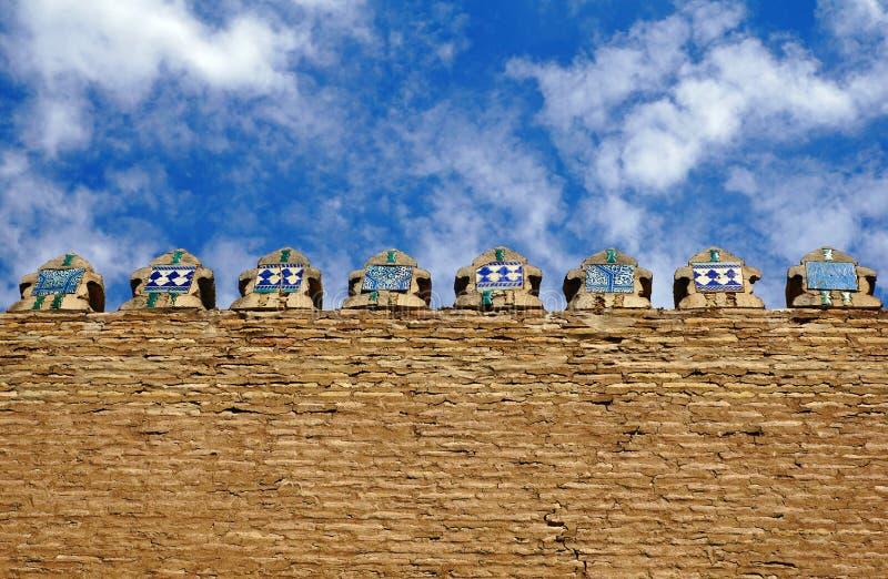 Ornamental wall with oriental ornaments in Khiva Uzbekistan stock image