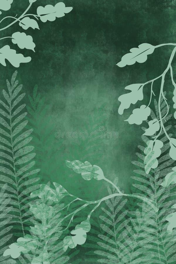 Ziet de hand getrokken kunst geverfte grunge achtergrond met Japanse stijlinkt antiqued randachtergrond in donkergroen eruit royalty-vrije illustratie