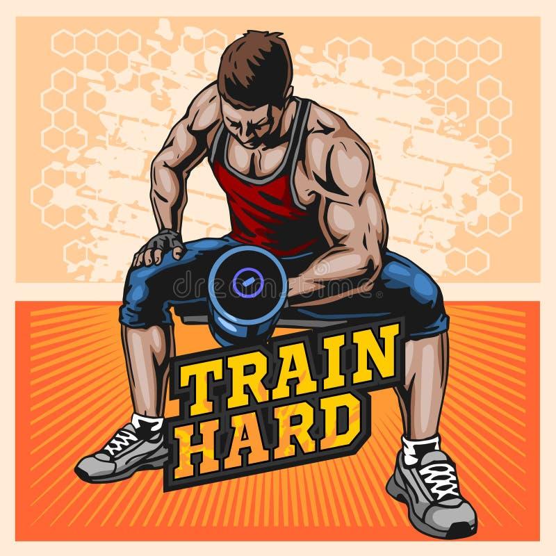 Ziet uit het bodybuilder vectorbeeld, op dubbele bicepsenillustratie stock illustratie