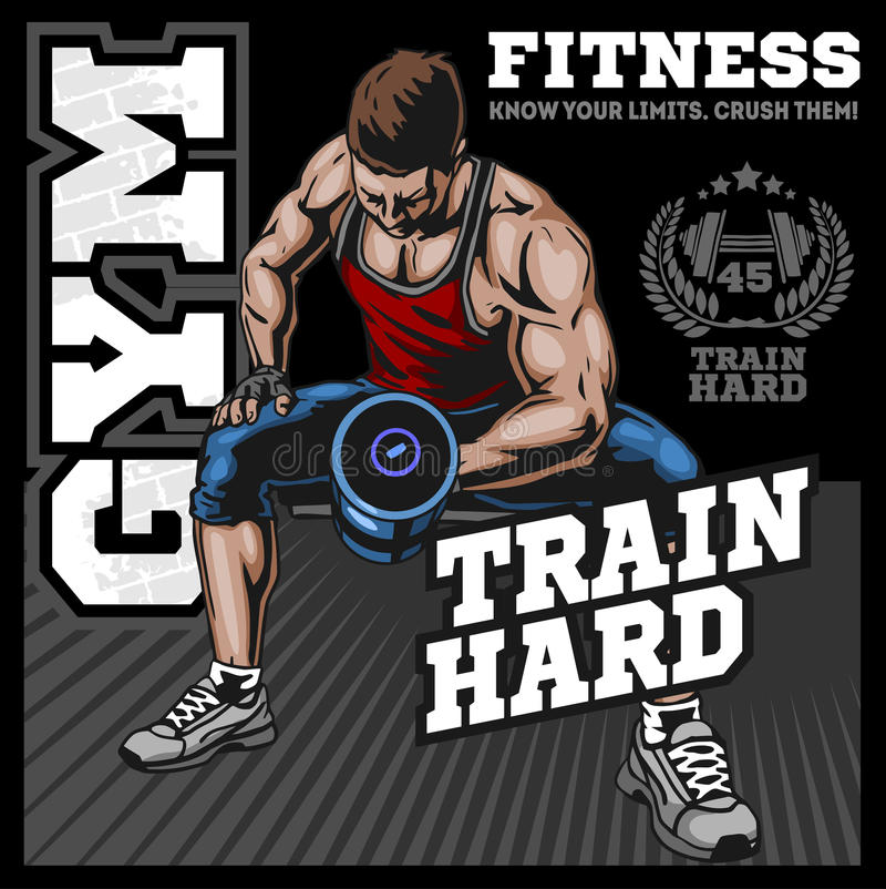 Ziet uit het bodybuilder vectorbeeld, op dubbele bicepsenillustratie vector illustratie