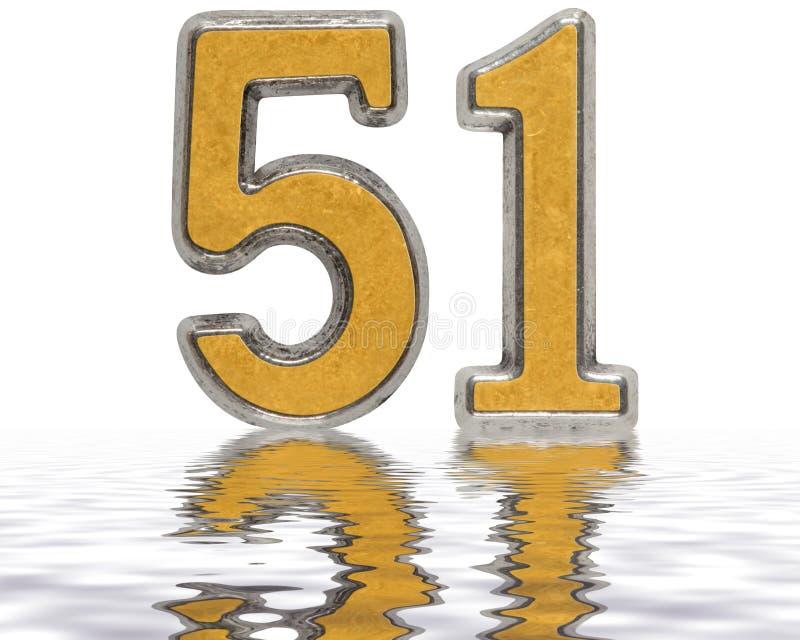 Ziffer 51, fünfzig eins, nachgedacht über die Wasseroberfläche, lokalisiert lizenzfreie abbildung