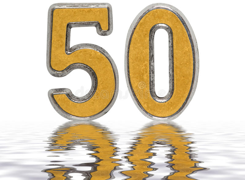 Ziffer 50, fünfzig, nachgedacht über die Wasseroberfläche, lokalisiert stock abbildung