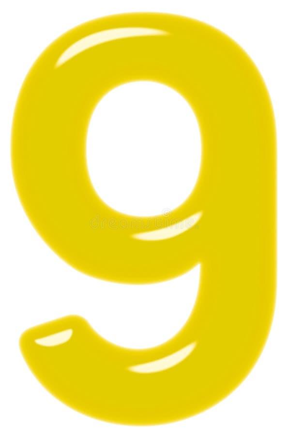 Ziffer 9, neun, lokalisiert auf weißem Hintergrund, 3d übertragen stock abbildung