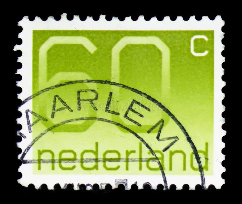 """Ziffer, 60 niederländische Cents, stellen Art \ """"Crouwel \"""" serie, circa 1981 dar stockfotografie"""