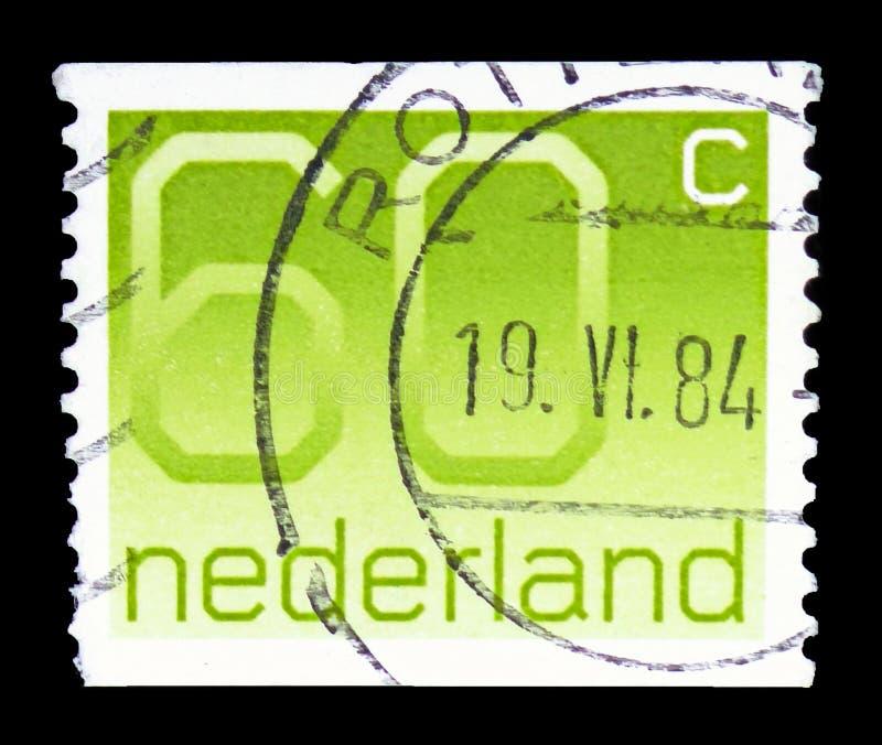 """Ziffer, 60 niederländische Cents, stellen Art \ """"Crouwel \"""" serie, circa 1981 dar lizenzfreie stockfotos"""