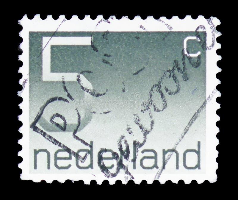 """Ziffer, 5 niederländische Cents, stellen Art \ """"Crouwel \"""" serie, circa 1976 dar lizenzfreie stockbilder"""