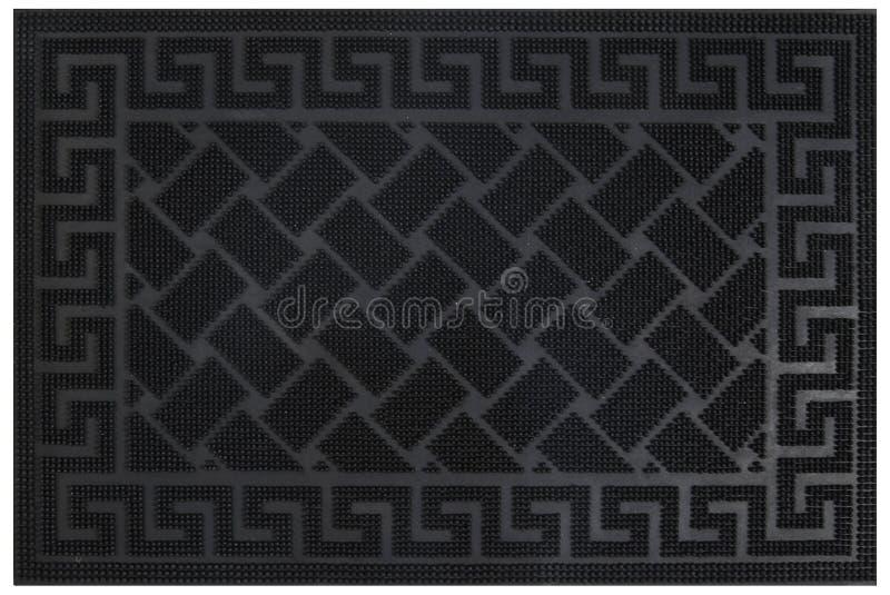 Zig-zag élégant noir petterned avec le tapis de porte d'entrée d'accueil de frontière de motif photo stock