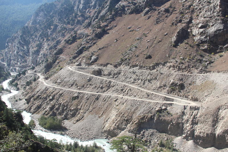 Zig Zag Mountain Road. Zig zag road from the Garhwal region of India stock images