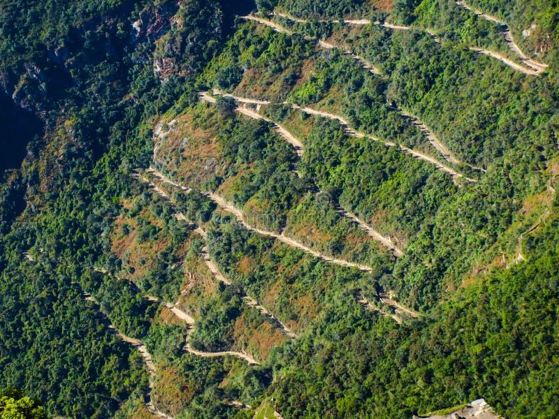 Zig zag road to Machu Picchu. Zig zag road from Aguas Calientes to Machu Picchu (Peru stock photography