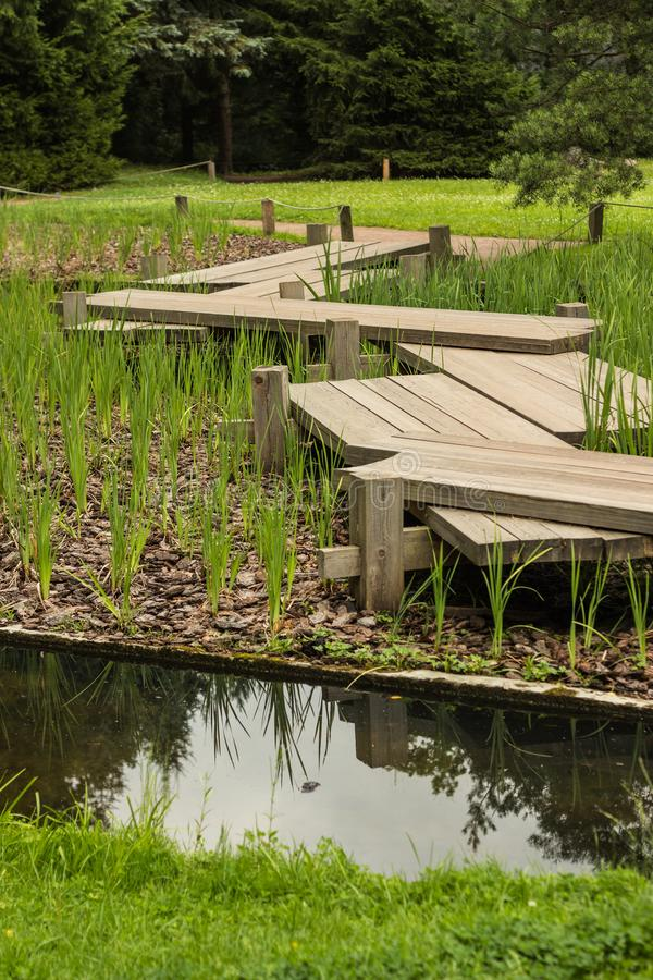 Zig-zag wooden pathway, footpath bridge over a lily pad filled water pond. Zig-zag pattern wooden pathway, footpath bridge over a lily pad filled water pond royalty free stock image