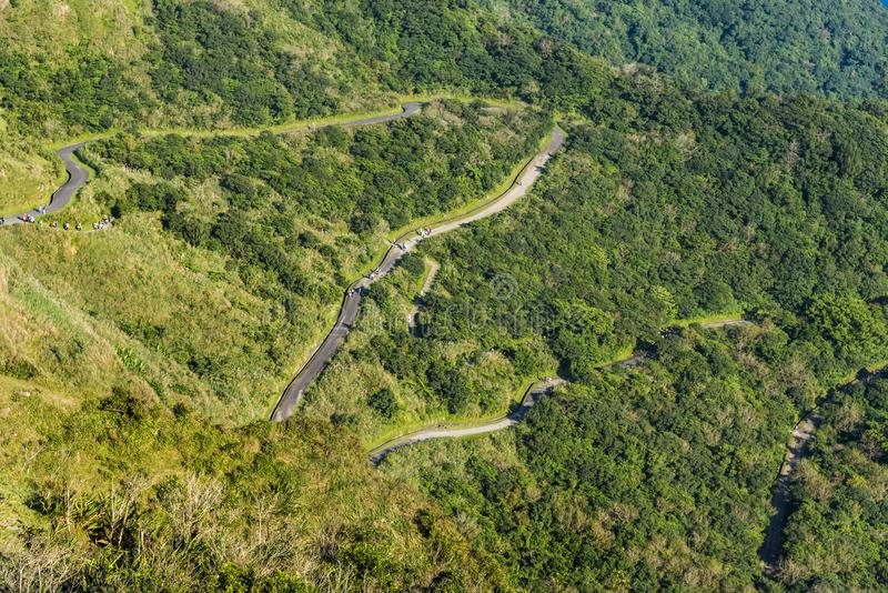 Zig Zagging roads on a steep mountain side royalty free stock images