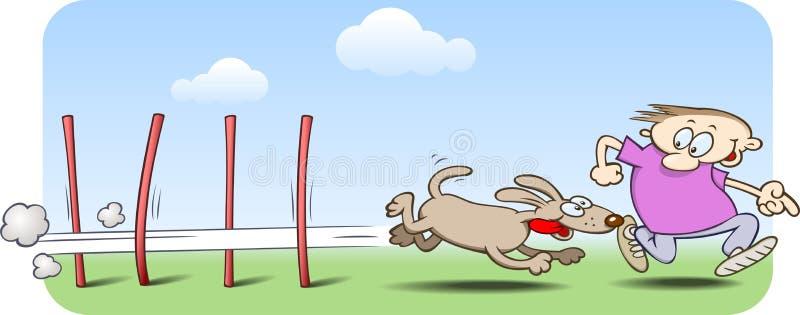 Zig-zaging del perro de la agilidad a través de postes de la armadura libre illustration
