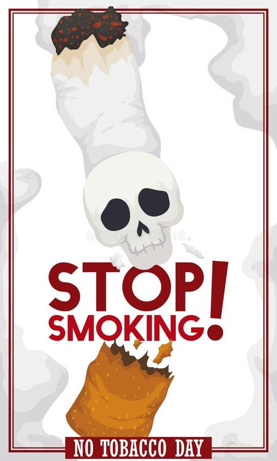 Zigarette mit dem Schädel gebrochen: Bewusstseins-Mitteilung für keinen Tabak-Tag, Vektor-Illustration lizenzfreie abbildung