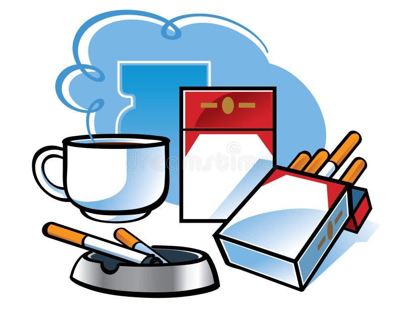 Zigaretten und Kaffee lizenzfreie abbildung