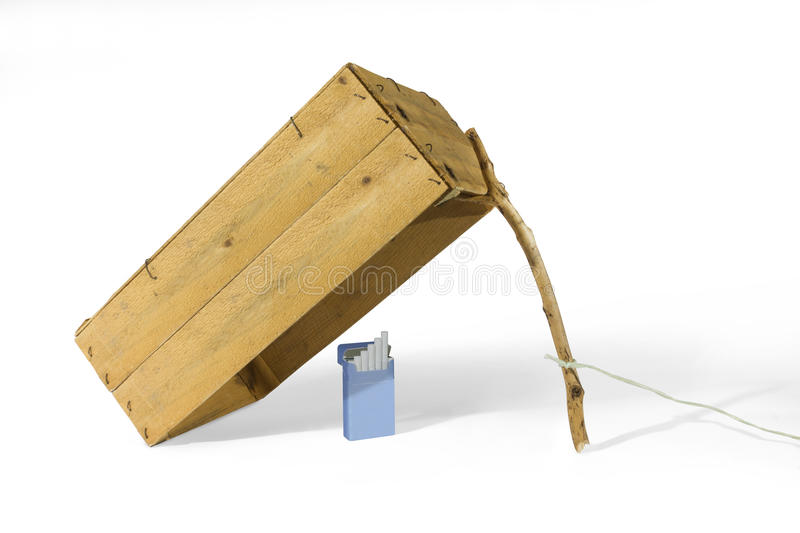 Zigarettensatz unter Kastenfalle lizenzfreie stockfotos