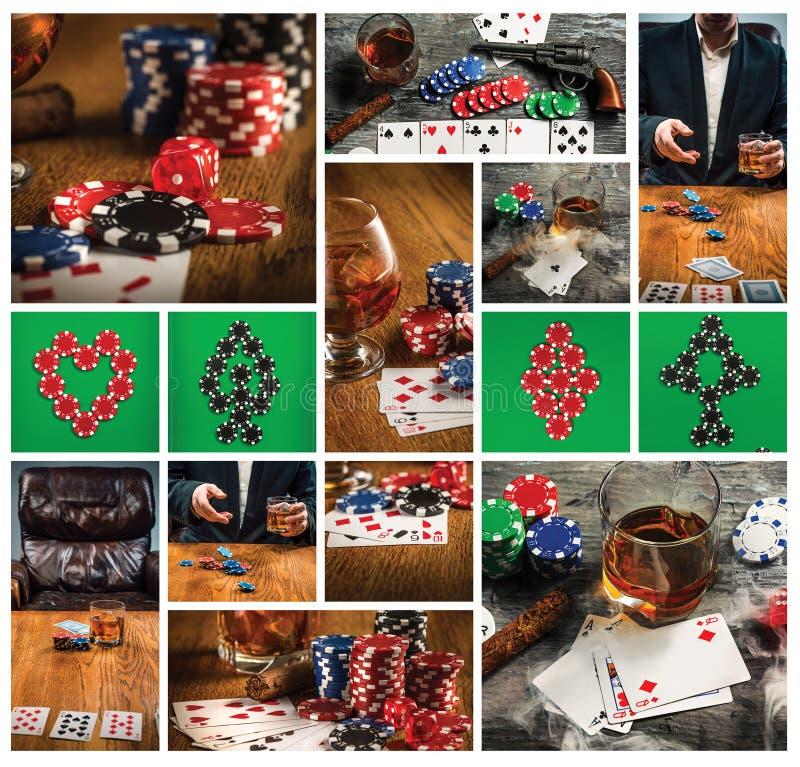 Zigarre, Chips für gamblings, Getränk und Spielkarten stockbild