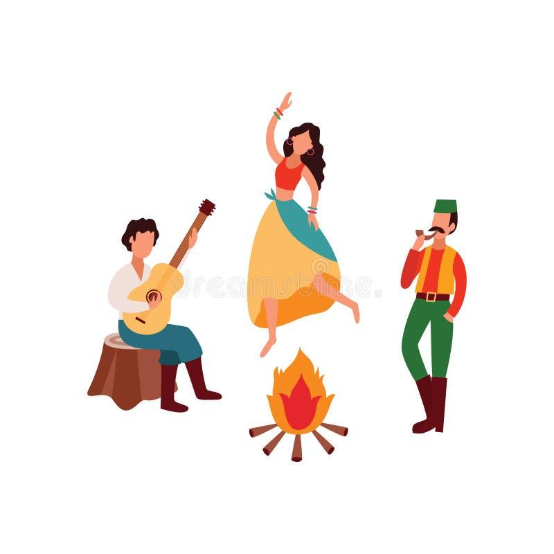 Zigenare eller det Romani folket som spelar gitarren och dansar den plana vektorillustrationen, isolerade vektor illustrationer