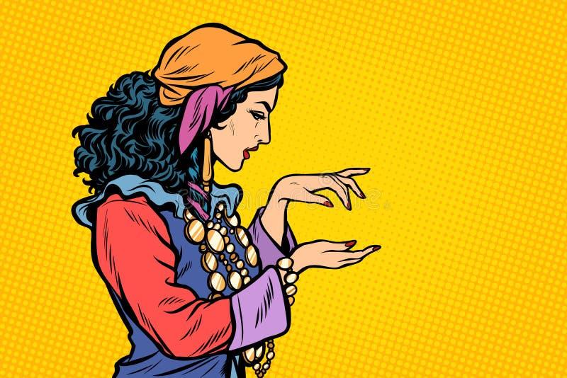 Zigenare för kvinnaförmögenhetkassör royaltyfri illustrationer