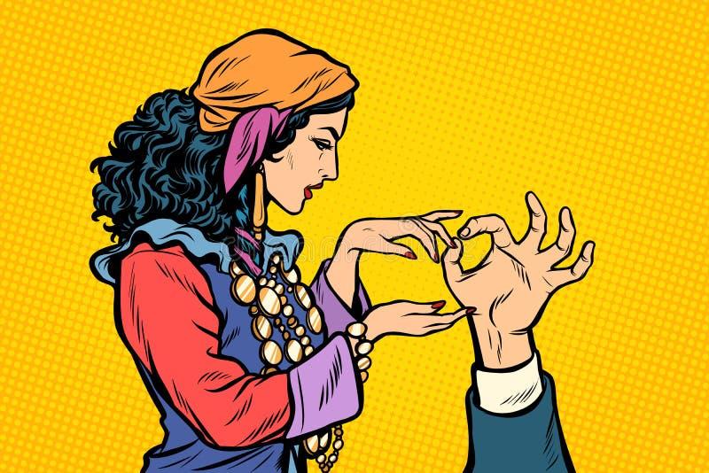 Zigenare för kvinnaförmögenhetkassör Kiromantihand vektor illustrationer