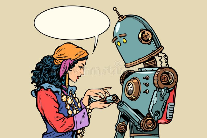 Zigensk förmögenhetkassör och robot palmistry royaltyfri illustrationer